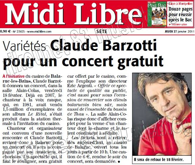 article de presse Midi libre du 27 janvier 2011