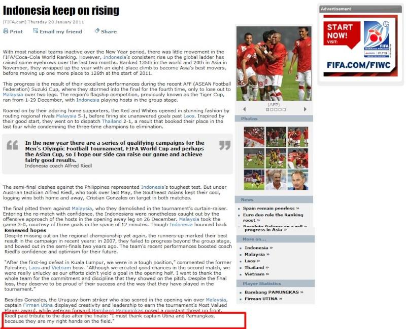 Rilis terbaru FIFA.COM : Peringkat Indonesia Terus Meningkat