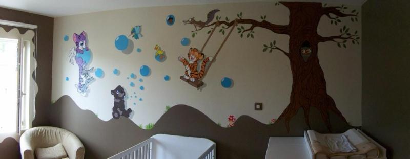 Fresque murale enfant for Chambre bebe peinture murale